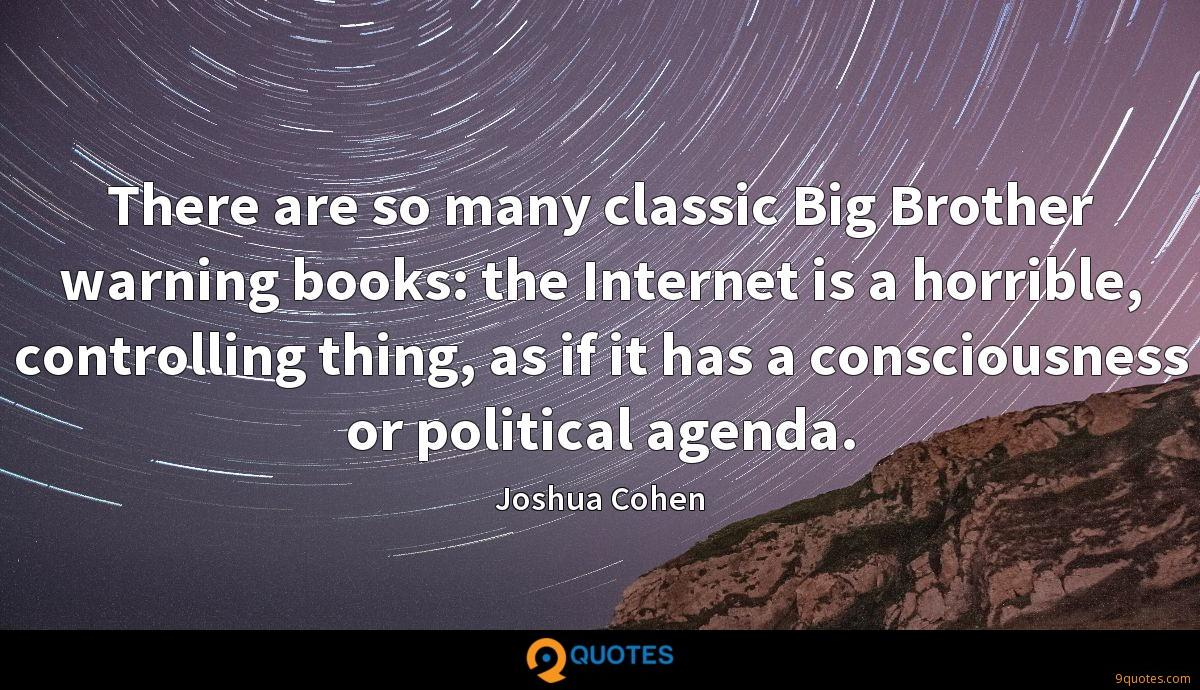 There are so many classic Big Brother warning books: the Internet is a horrible, controlling thing, as if it has a consciousness or political agenda.