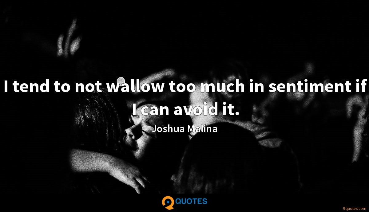 I tend to not wallow too much in sentiment if I can avoid it.