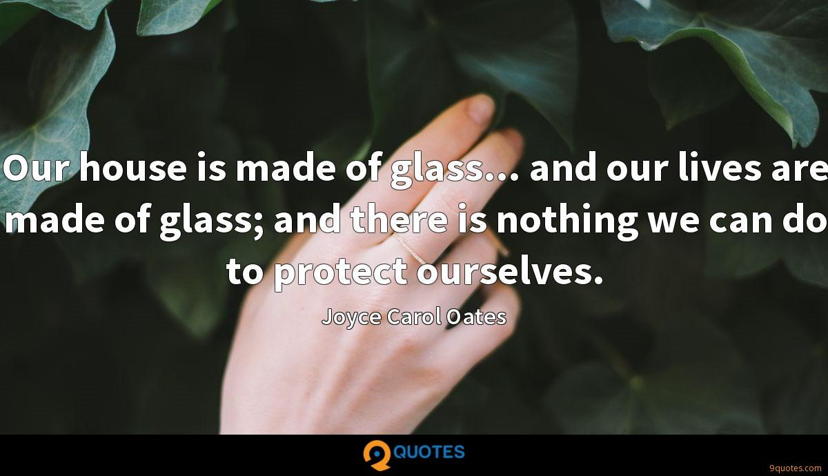 Our house is made of glass... and our lives are made of glass; and there is nothing we can do to protect ourselves.