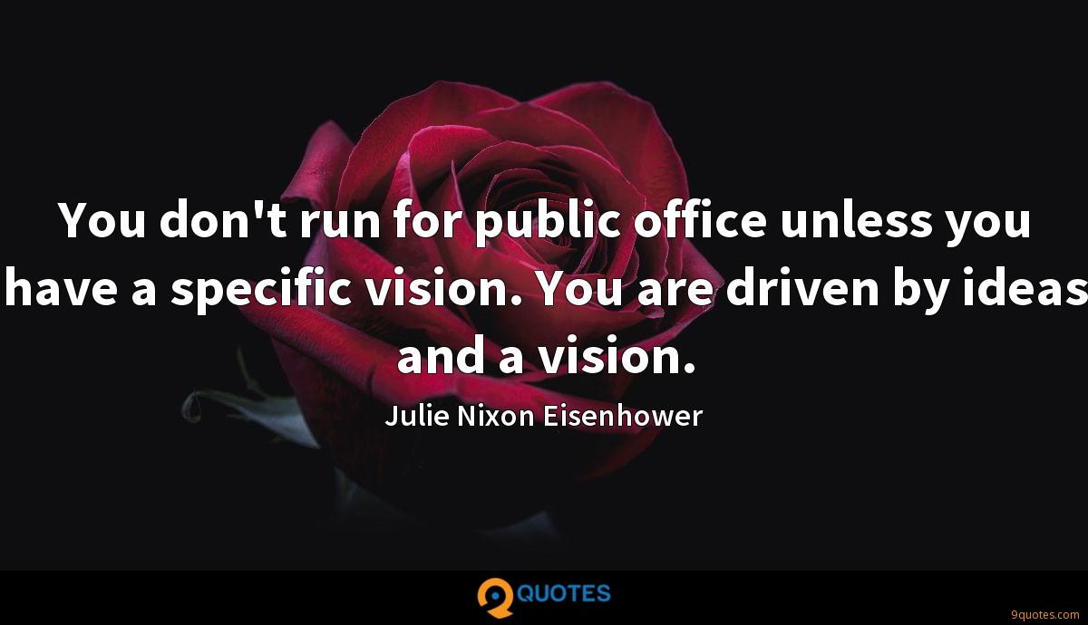 You don't run for public office unless you have a specific vision. You are driven by ideas and a vision.
