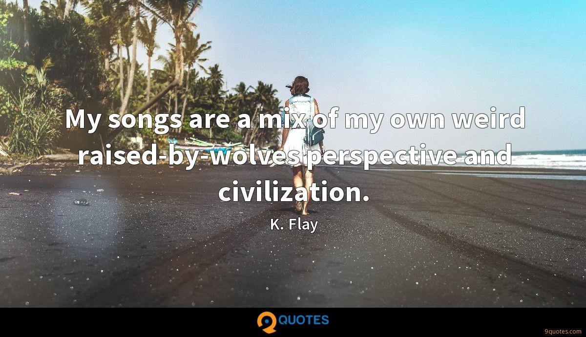 My songs are a mix of my own weird raised-by-wolves perspective and civilization.