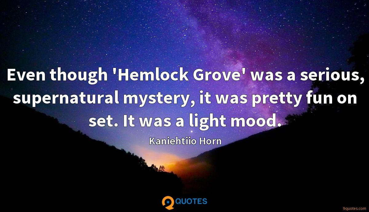 Even though 'Hemlock Grove' was a serious, supernatural mystery, it was pretty fun on set. It was a light mood.