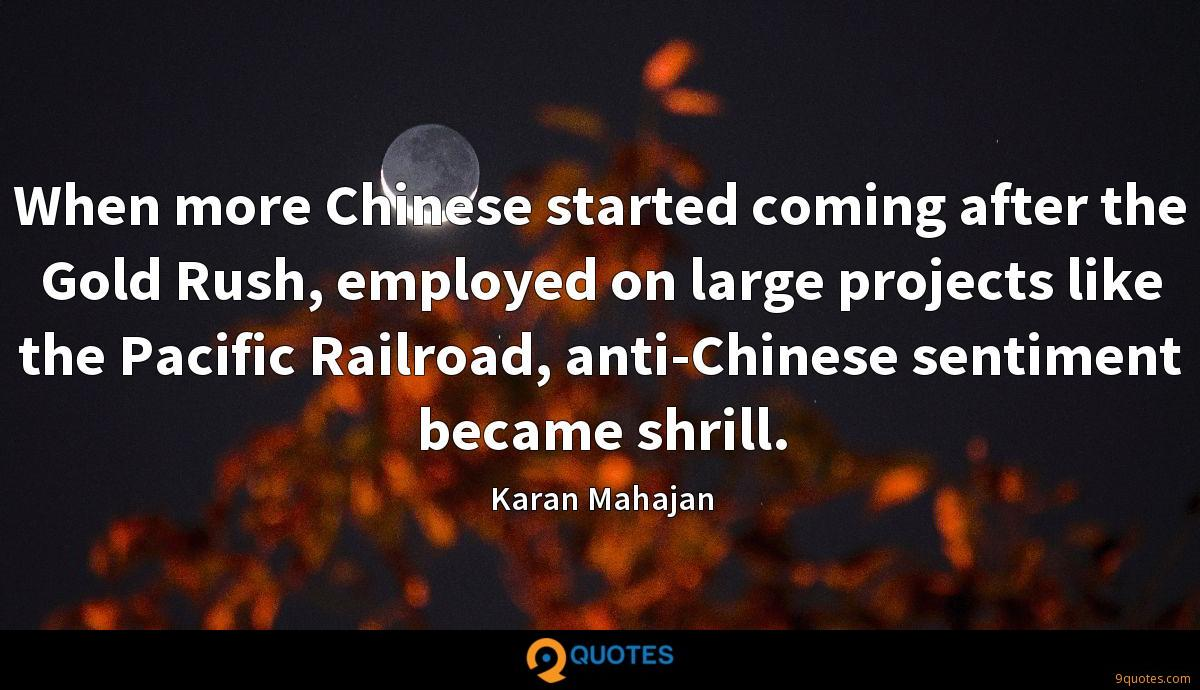 When more Chinese started coming after the Gold Rush, employed on large projects like the Pacific Railroad, anti-Chinese sentiment became shrill.