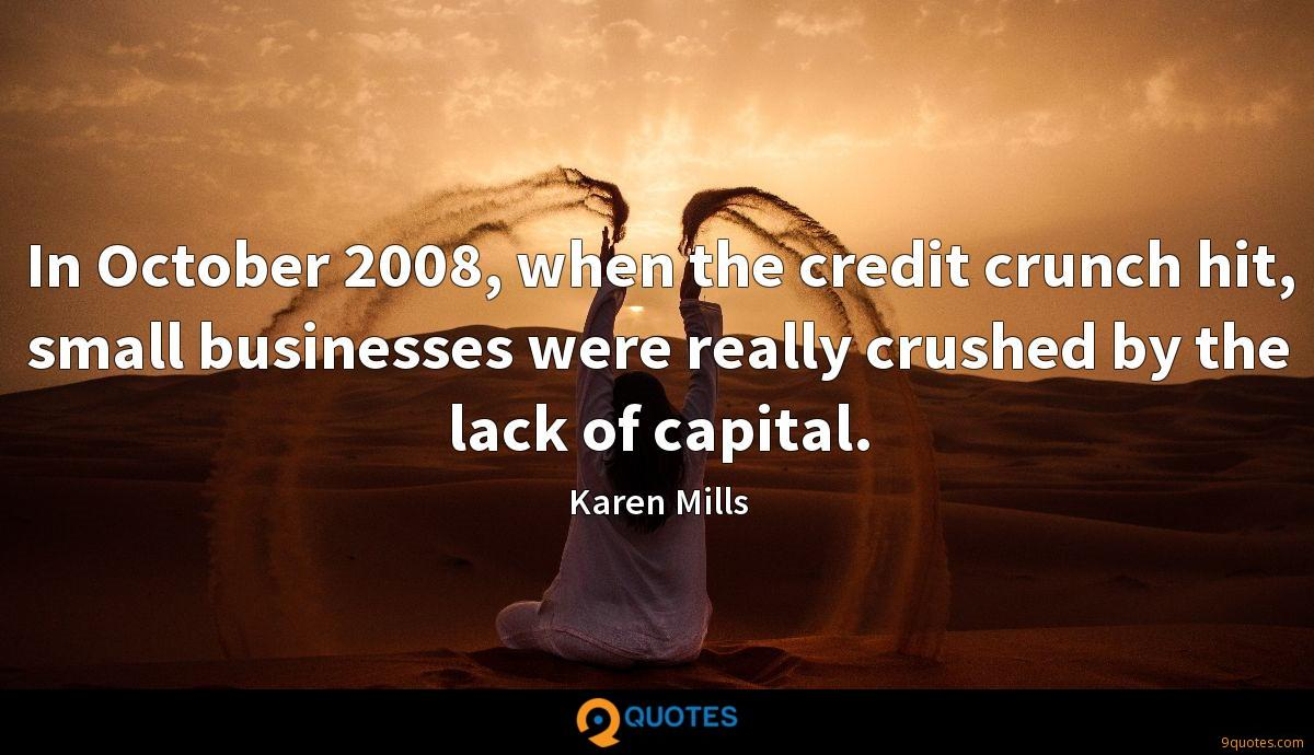 In October 2008, when the credit crunch hit, small businesses were really crushed by the lack of capital.