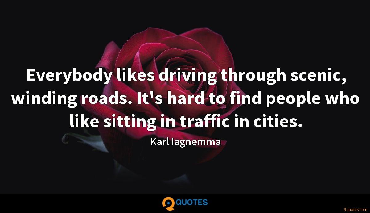 Everybody likes driving through scenic, winding roads. It's hard to find people who like sitting in traffic in cities.