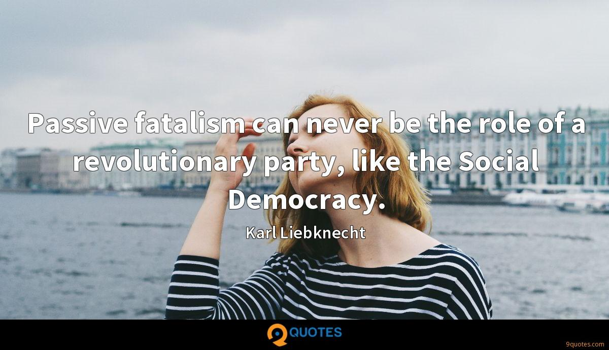 Passive fatalism can never be the role of a revolutionary party, like the Social Democracy.