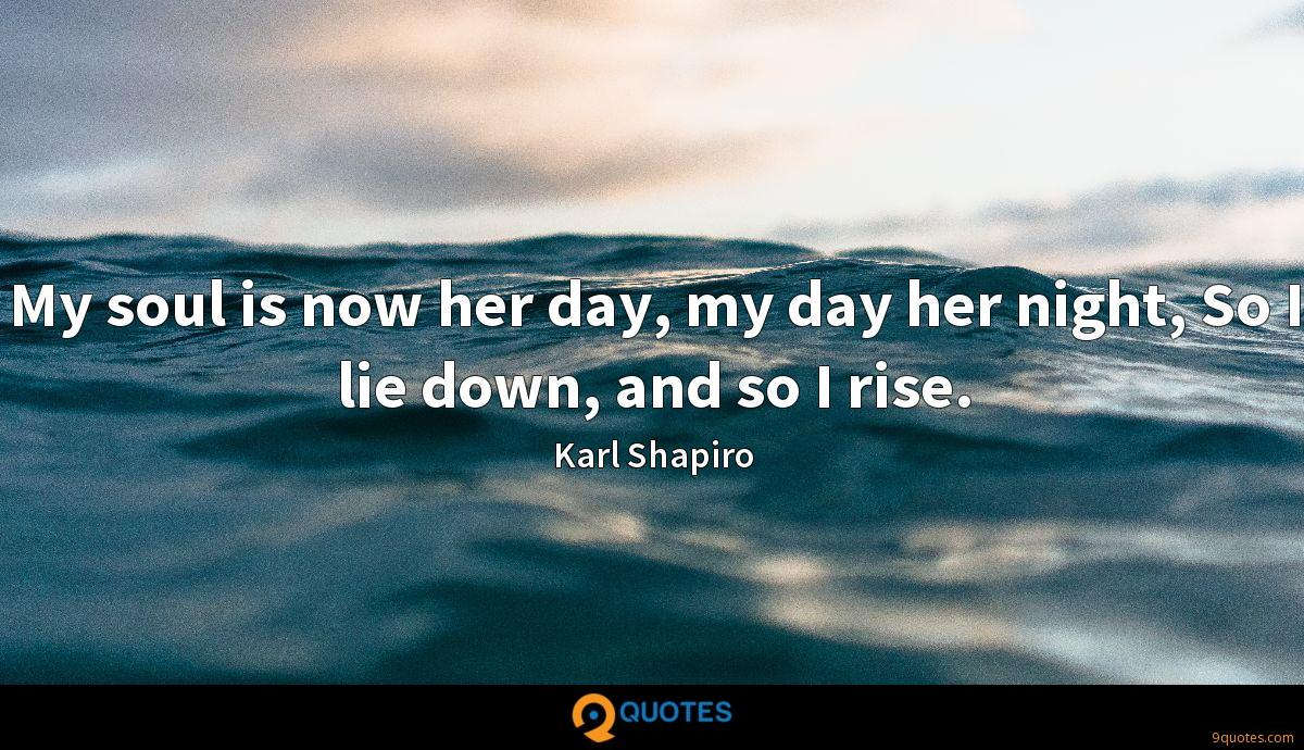 My soul is now her day, my day her night, So I lie down, and so I rise.