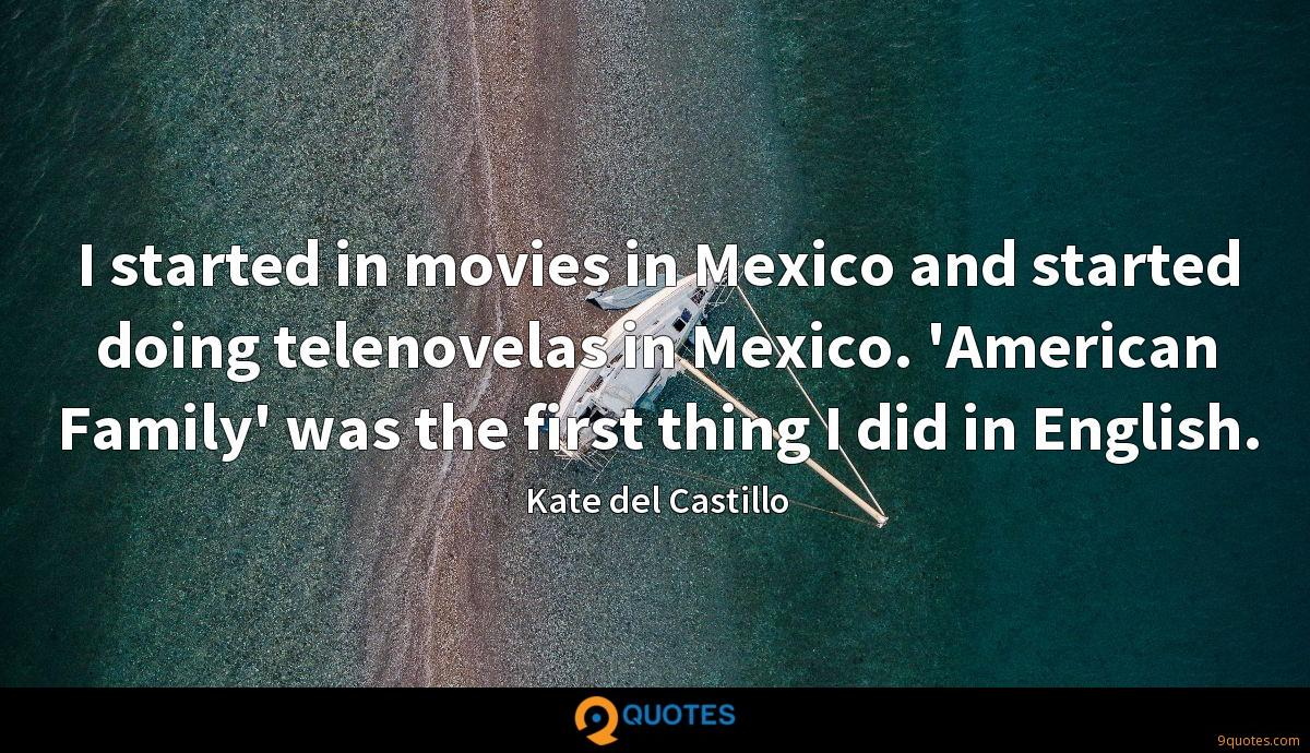 I started in movies in Mexico and started doing telenovelas in Mexico. 'American Family' was the first thing I did in English.