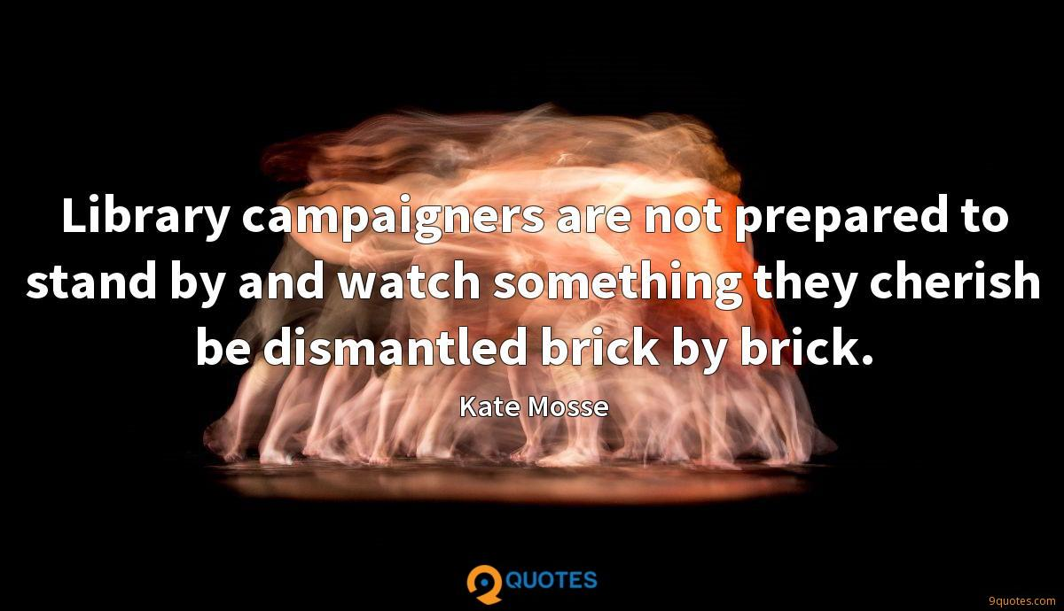 Library campaigners are not prepared to stand by and watch something they cherish be dismantled brick by brick.