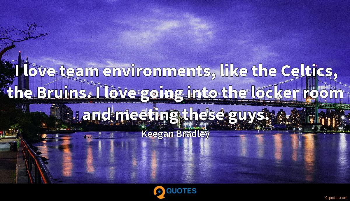 I love team environments, like the Celtics, the Bruins. I love going into the locker room and meeting these guys.