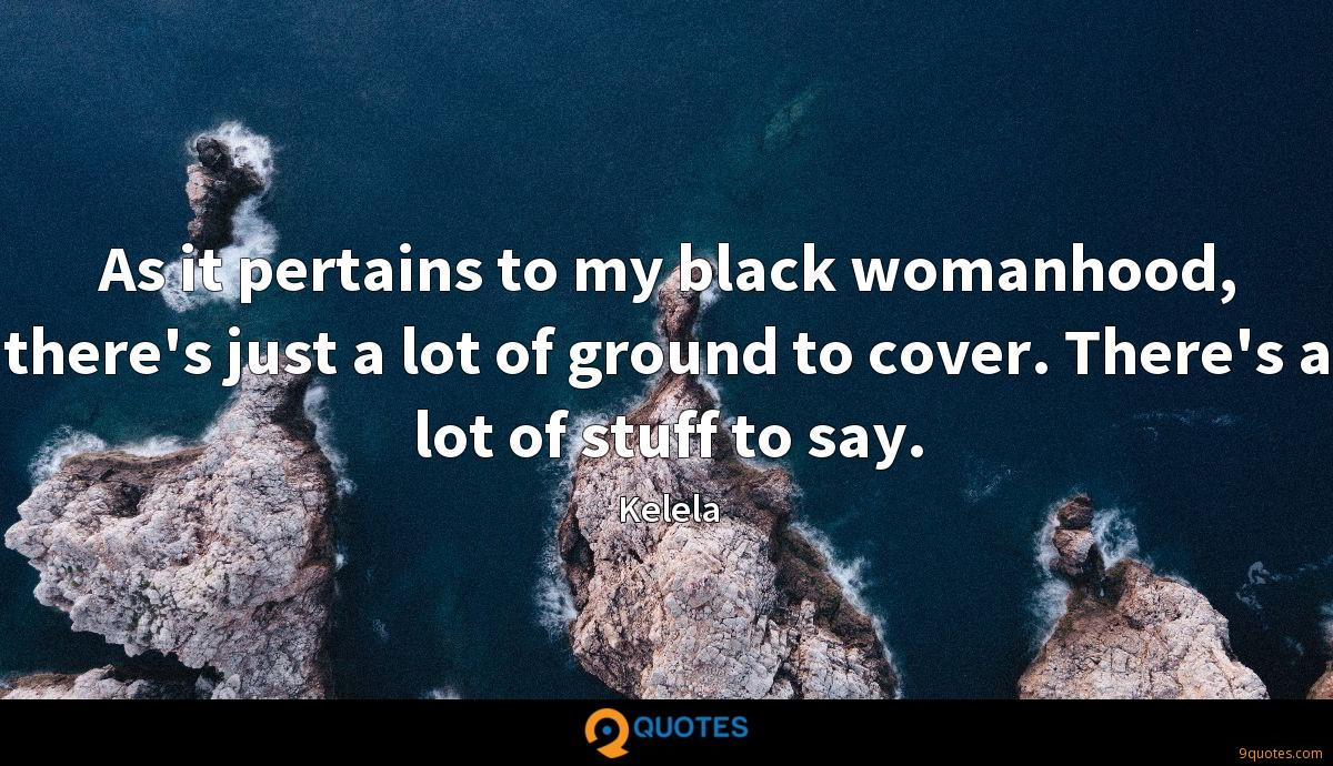 As it pertains to my black womanhood, there's just a lot of ground to cover. There's a lot of stuff to say.