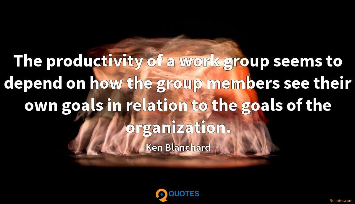 The productivity of a work group seems to depend on how the group members see their own goals in relation to the goals of the organization.