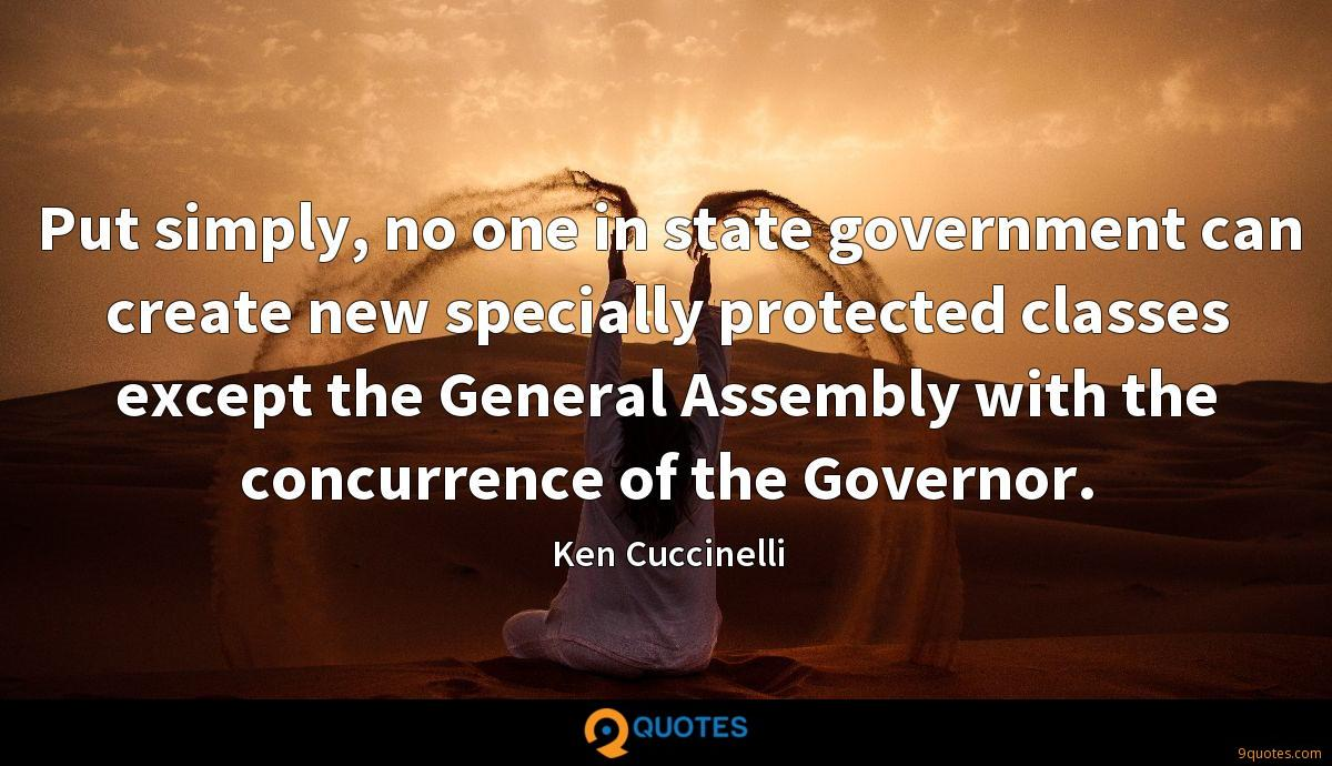 Put simply, no one in state government can create new specially protected classes except the General Assembly with the concurrence of the Governor.