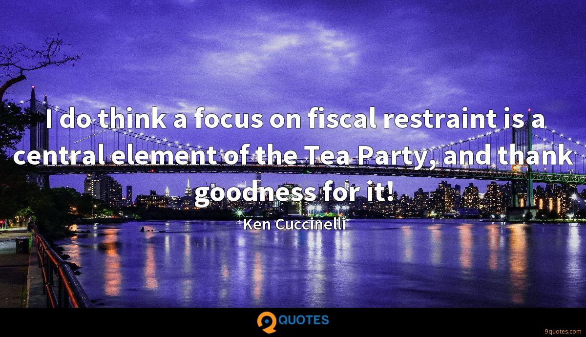 I do think a focus on fiscal restraint is a central element of the Tea Party, and thank goodness for it!