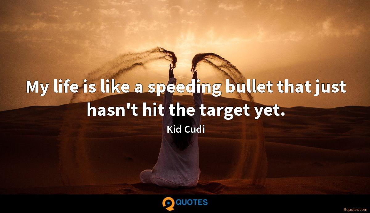 My life is like a speeding bullet that just hasn't hit the target yet.