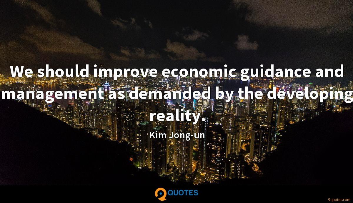 We should improve economic guidance and management as demanded by the developing reality.