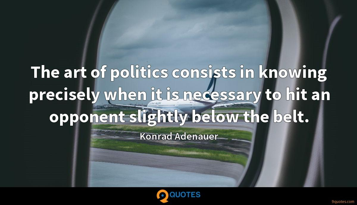 The art of politics consists in knowing precisely when it is necessary to hit an opponent slightly below the belt.