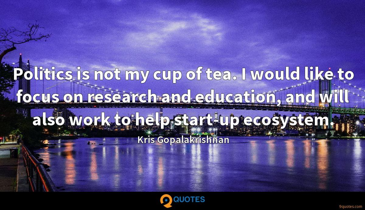 Politics is not my cup of tea. I would like to focus on research and education, and will also work to help start-up ecosystem.