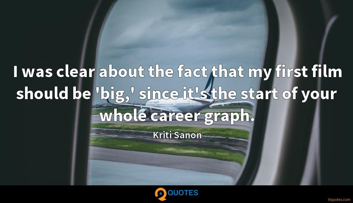 I was clear about the fact that my first film should be 'big,' since it's the start of your whole career graph.