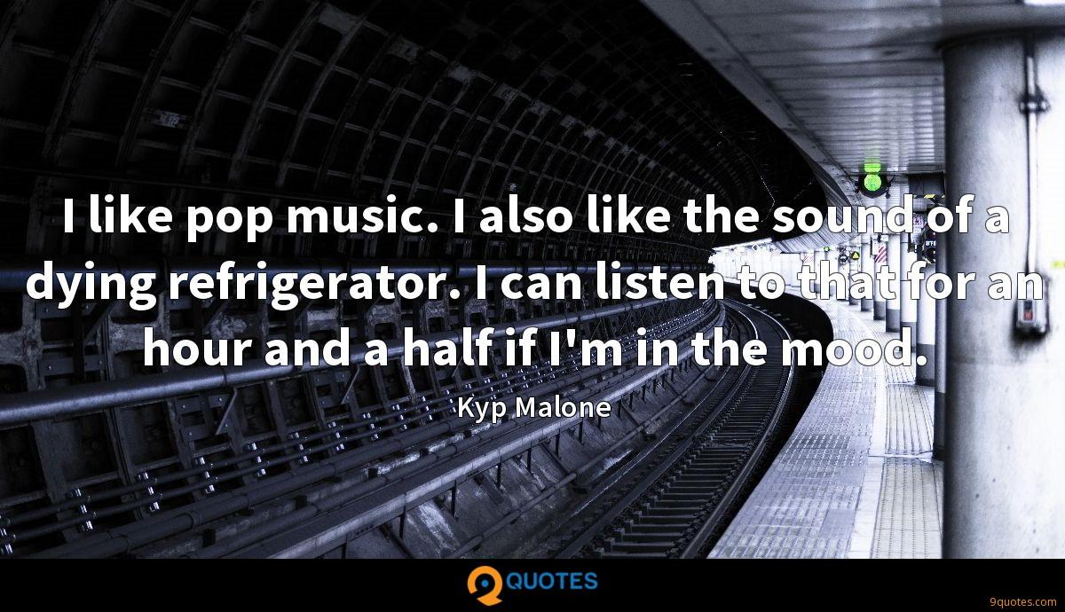 I like pop music. I also like the sound of a dying refrigerator. I can listen to that for an hour and a half if I'm in the mood.
