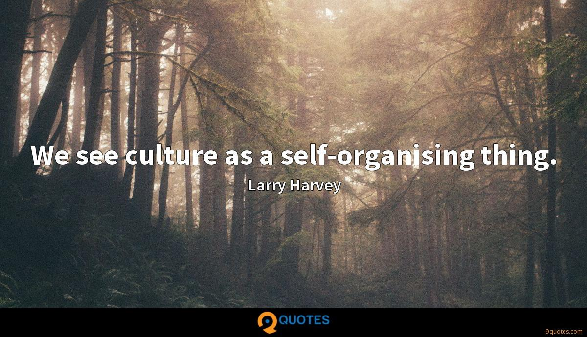 We see culture as a self-organising thing.