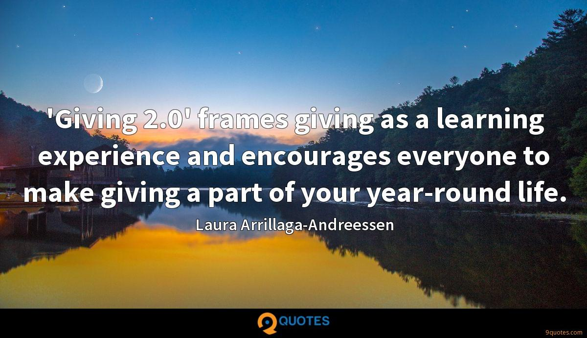 'Giving 2.0' frames giving as a learning experience and encourages everyone to make giving a part of your year-round life.