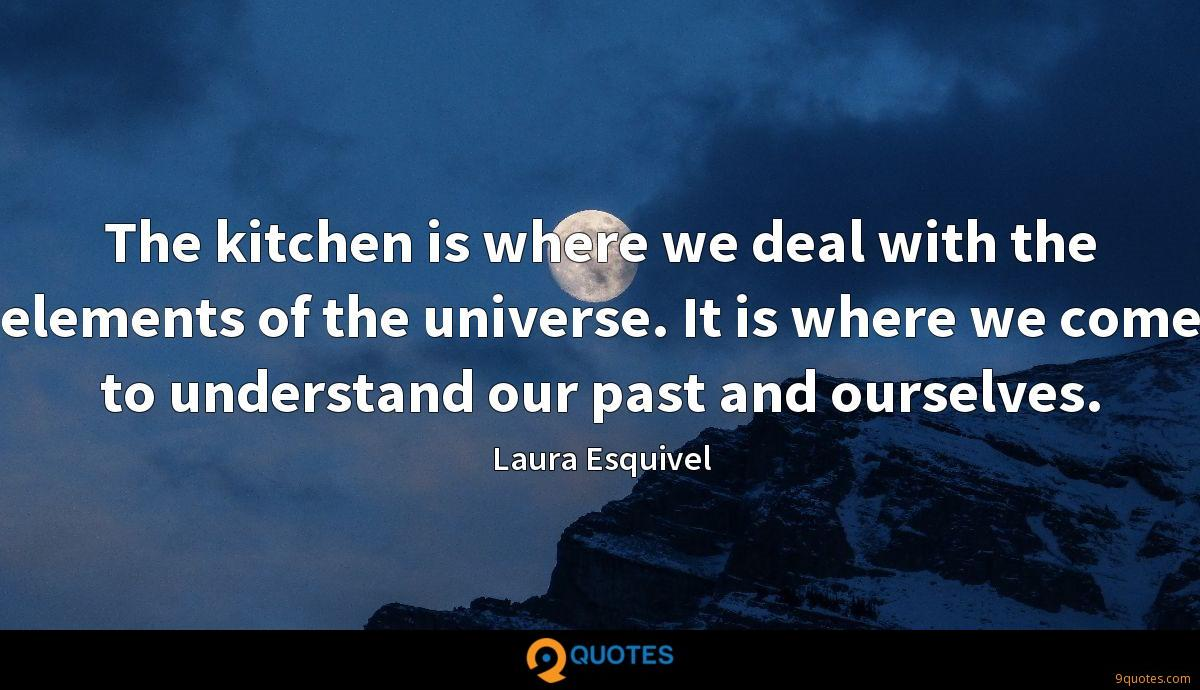 The kitchen is where we deal with the elements of the universe. It is where we come to understand our past and ourselves.