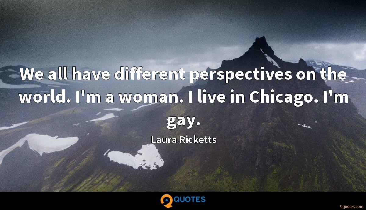 We all have different perspectives on the world. I'm a woman. I live in Chicago. I'm gay.