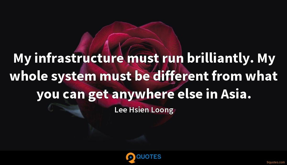 My infrastructure must run brilliantly. My whole system must be different from what you can get anywhere else in Asia.