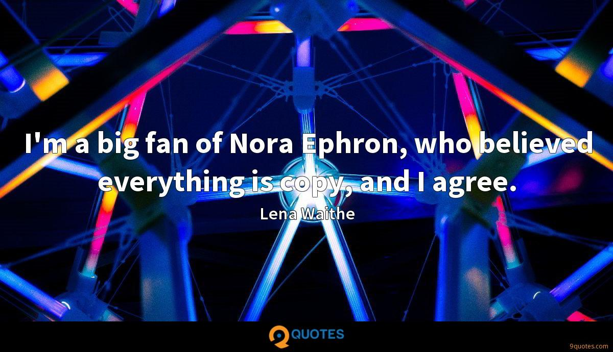 I'm a big fan of Nora Ephron, who believed everything is copy, and I agree.