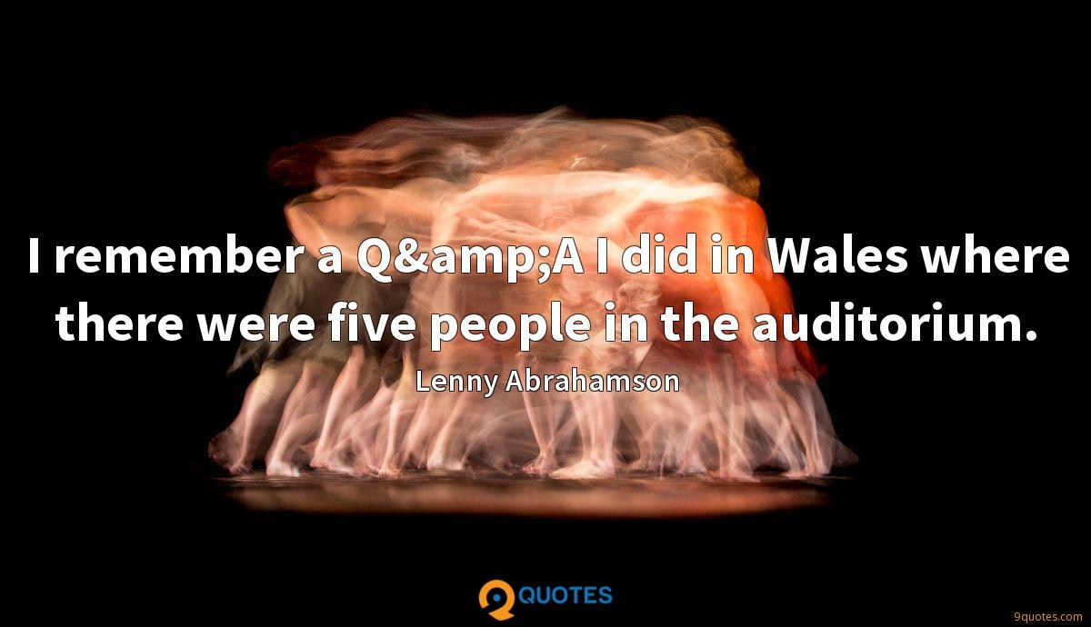 I remember a Q&A I did in Wales where there were five people in the auditorium.