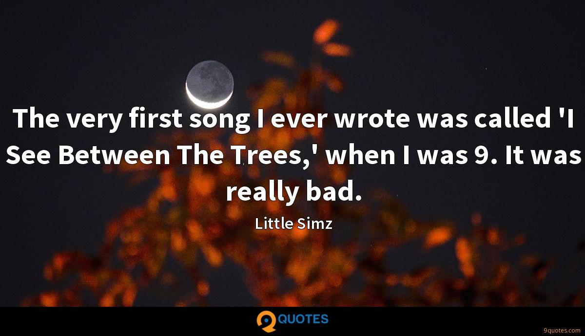 The very first song I ever wrote was called 'I See Between The Trees,' when I was 9. It was really bad.