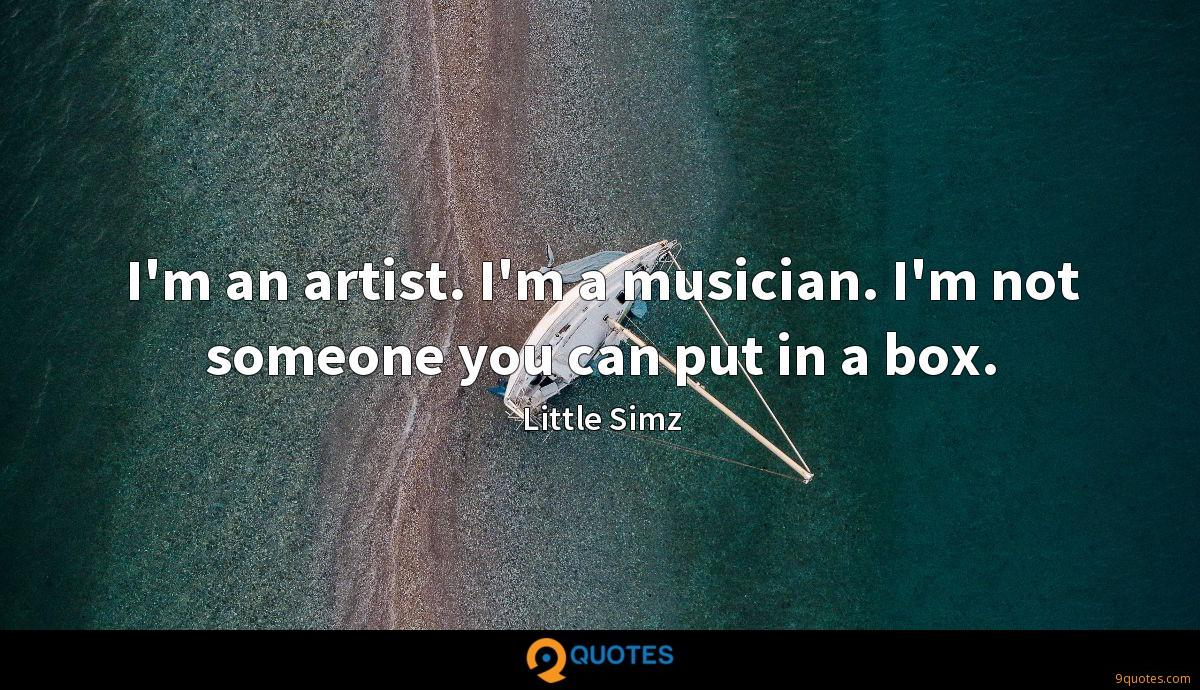 I'm an artist. I'm a musician. I'm not someone you can put in a box.