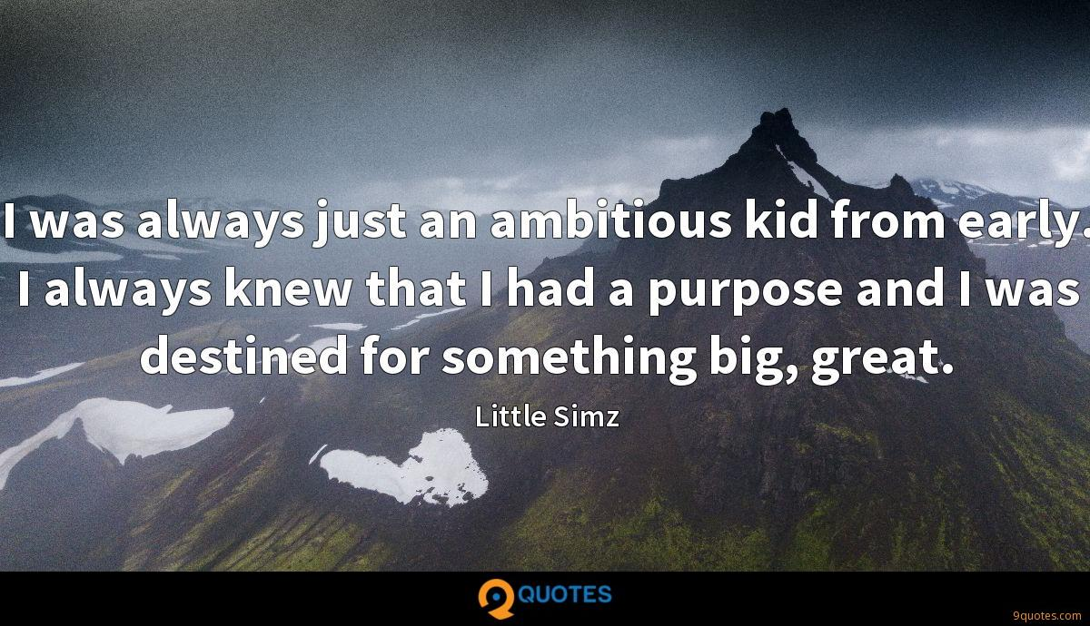 I was always just an ambitious kid from early. I always knew that I had a purpose and I was destined for something big, great.