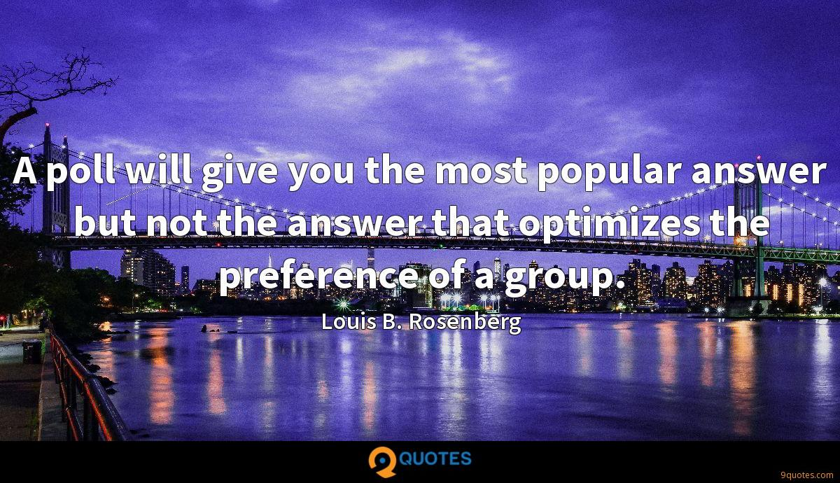 A poll will give you the most popular answer but not the answer that optimizes the preference of a group.