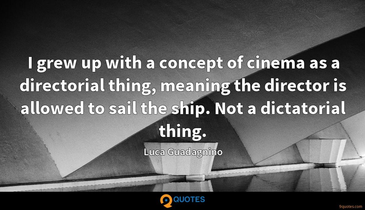 I grew up with a concept of cinema as a directorial thing, meaning the director is allowed to sail the ship. Not a dictatorial thing.