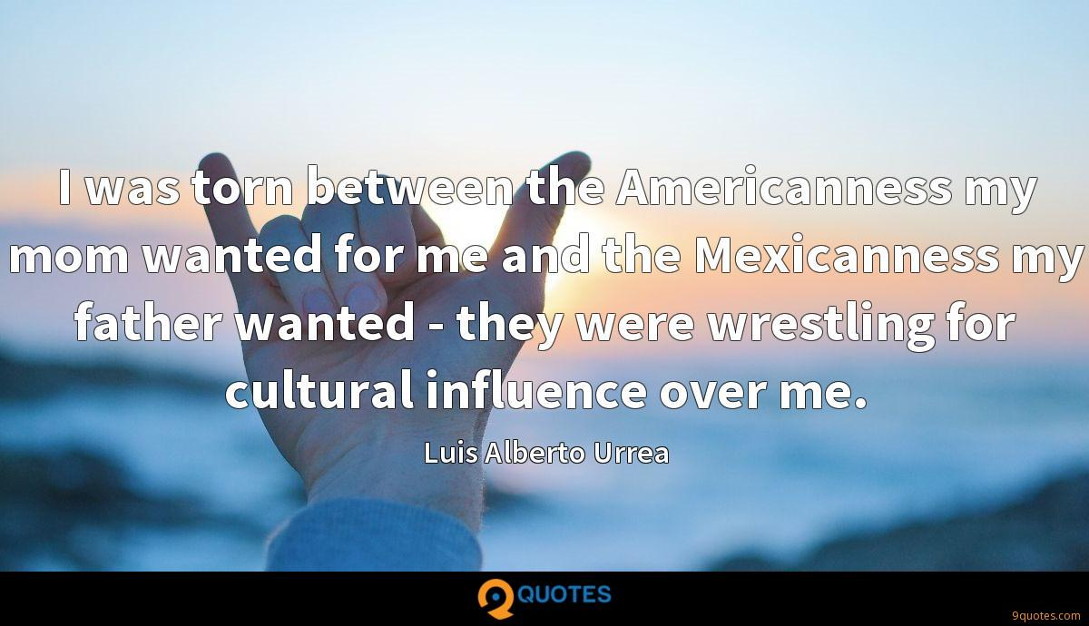 I was torn between the Americanness my mom wanted for me and the Mexicanness my father wanted - they were wrestling for cultural influence over me.