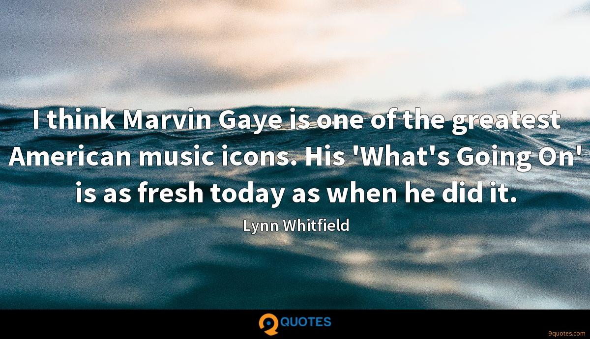 I think Marvin Gaye is one of the greatest American music icons. His 'What's Going On' is as fresh today as when he did it.