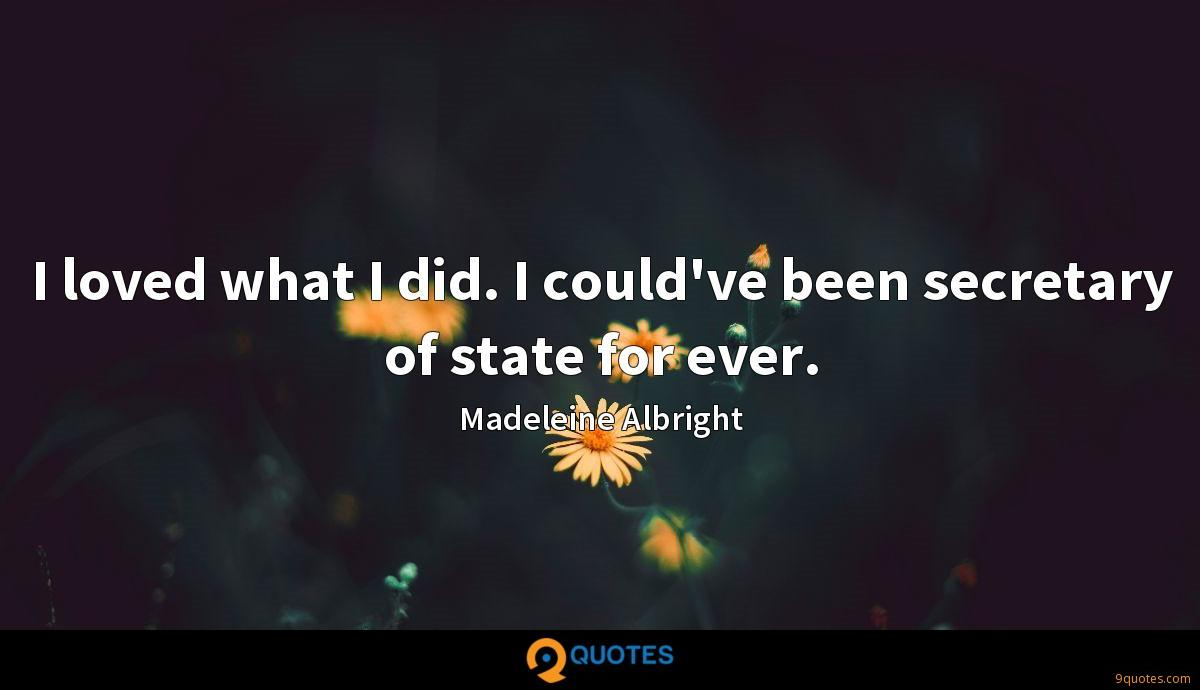 I loved what I did. I could've been secretary of state for ever.