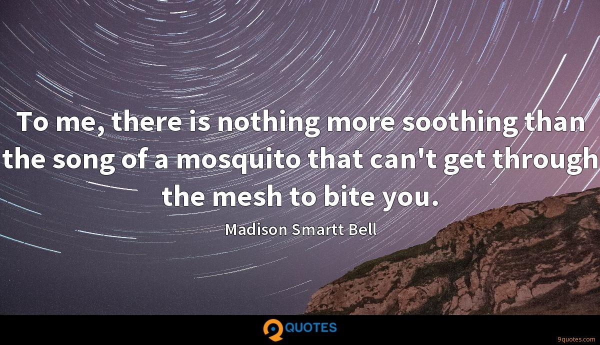 To me, there is nothing more soothing than the song of a mosquito that can't get through the mesh to bite you.