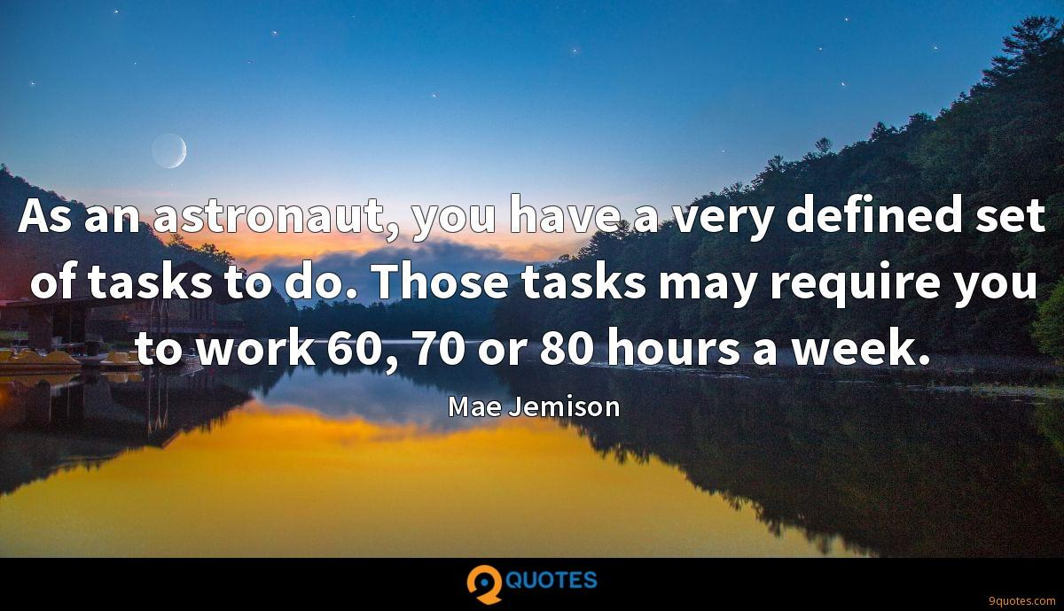 As an astronaut, you have a very defined set of tasks to do. Those tasks may require you to work 60, 70 or 80 hours a week.