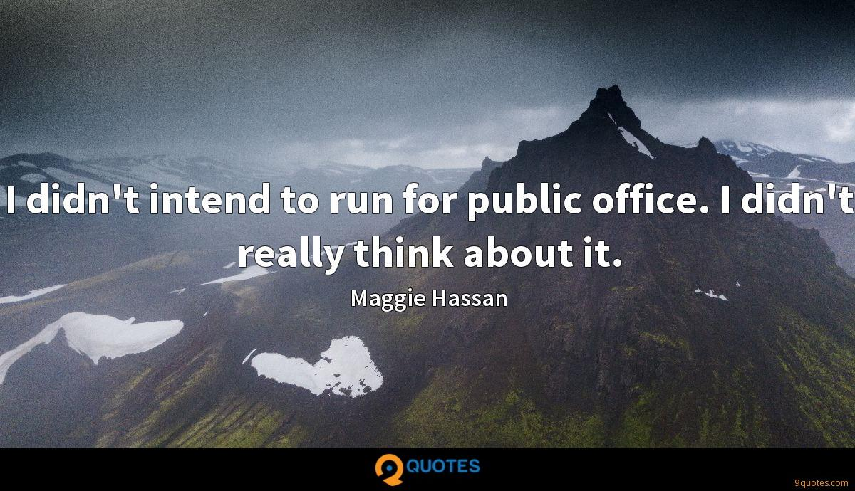 I didn't intend to run for public office. I didn't really think about it.