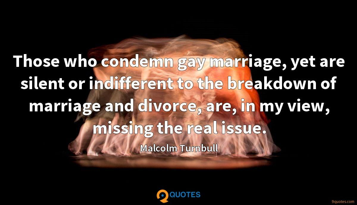 Those who condemn gay marriage, yet are silent or indifferent to the breakdown of marriage and divorce, are, in my view, missing the real issue.