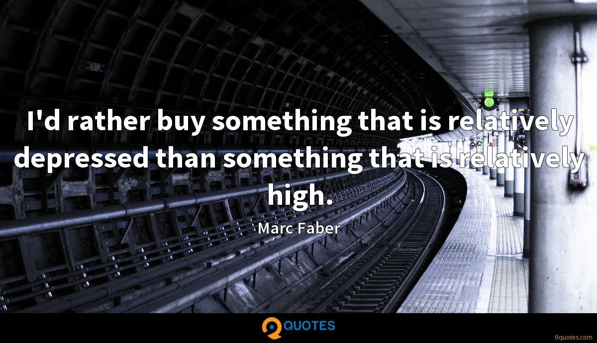 I'd rather buy something that is relatively depressed than something that is relatively high.