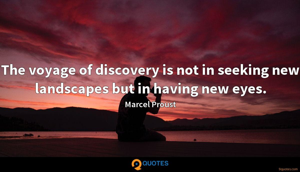 The voyage of discovery is not in seeking new landscapes but in having new eyes.