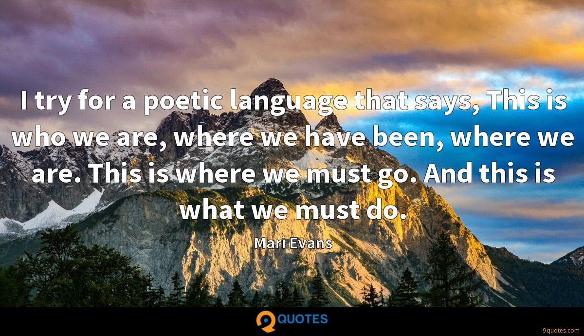 I try for a poetic language that says, This is who we are, where we have been, where we are. This is where we must go. And this is what we must do.