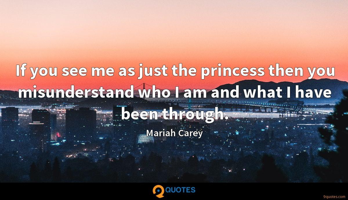 If you see me as just the princess then you misunderstand who I am and what I have been through.