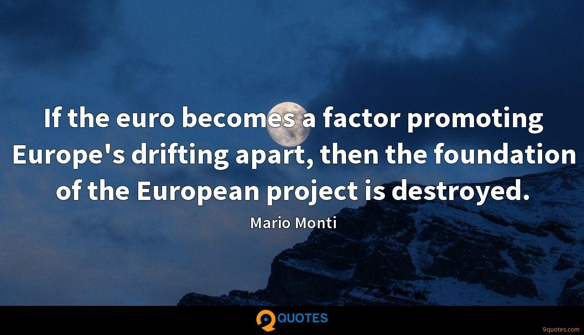 If the euro becomes a factor promoting Europe's drifting apart, then the foundation of the European project is destroyed.