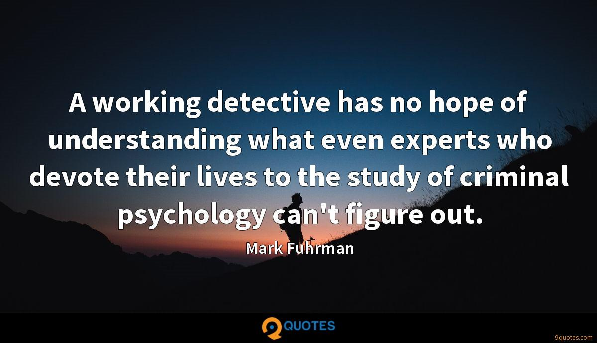 A working detective has no hope of understanding what even experts who devote their lives to the study of criminal psychology can't figure out.