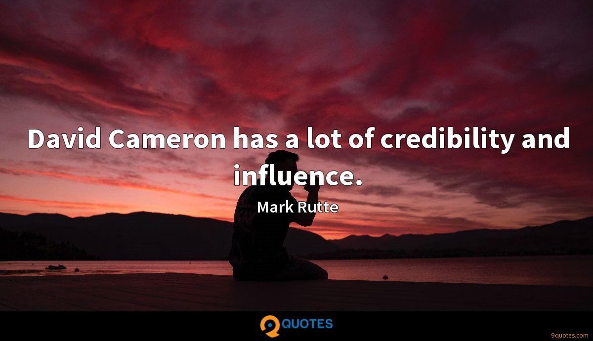 David Cameron has a lot of credibility and influence.